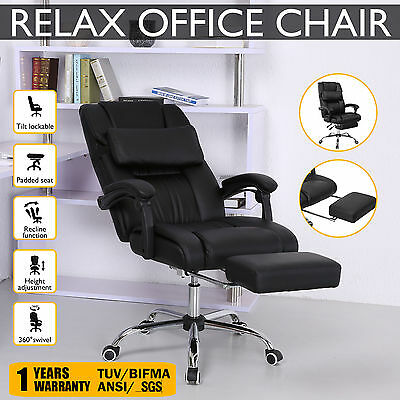 Executive Relax Office Chair Recline High Back PU Leather Computer Home Armchair