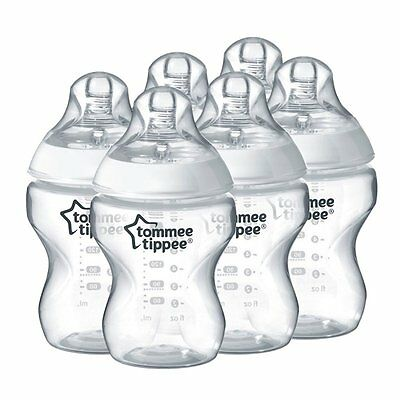 Tommee Tippee Closer to Nature Baby Milk Feeding Bottles - Pack of 6