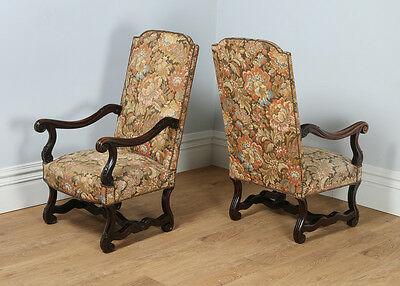 Antique Pair Two French Walnut Fauteuil Upholstered Hall Open Library Armchairs