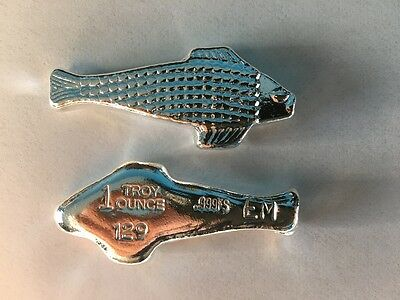 "1 oz Hand Poured 999 Silver Bullion Bar ""Fish"" by Ericson Mint"