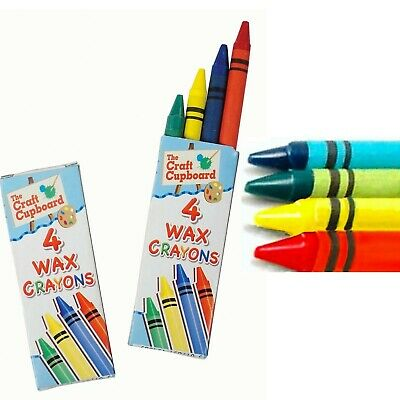 4 Crayons Mini Wax Colour Children Party Loot Bag Fillers - Pick Quantity Design