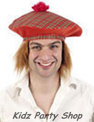 Burns Night Party- Tam o Shanter Tartan Scottish Hat - FREE POST IN UK