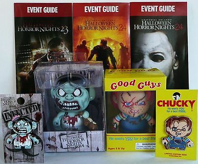2014 Zombie Girl & Chucky Figure Both Pins Walking Dead Halloween Horror Night