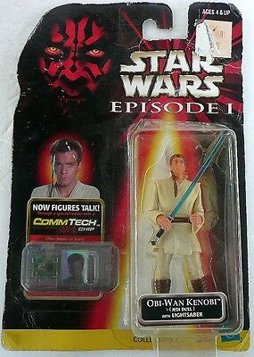 Authentic Star Wars Episode 1 Obi Wan Kenobi With Com Tech Reader Chip 1998 Noc