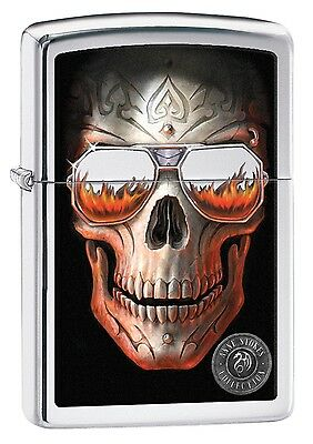 Zippo High Polish Chrome Skull Windproof Cigarette Lighter Smokers Accessory New