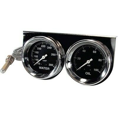 "BIG END PERFORMANCE 15090 2-5/8"" Chrome Gauge Panel Kit Water Temp/Oil Pressure"