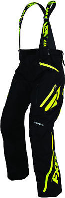 FXR Mens Black/Hi-Vis Yellow Mission X Insulated Snowmobile Pants Snocross