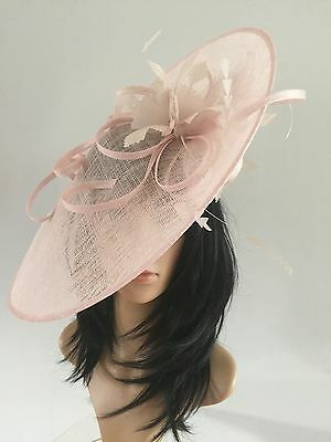 Pale Baby Pink Wedding Ascot Hatinator Hat Occasion Mother Of The Bride Sinamay
