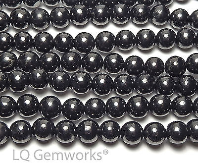 "15.5"" Strand RUSSIAN SHUNGITE 8mm Round Beads NATURAL"