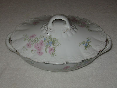 Antique/Vintage O&EG Royal Austria Dinnerware Soup Tureen With Lid Pink Floral
