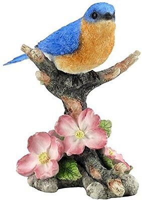 Bluebird Dogwood Flowers Figurine Branch New Tree Leaves Detailed Sculpture