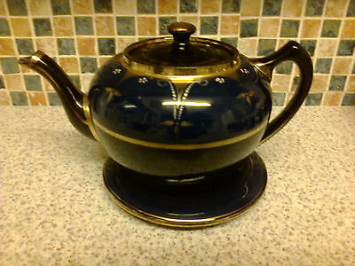 Vintage Teapot Stamped 2022H Matching Trivet Navy Blue Gold Hand Painted Flowers