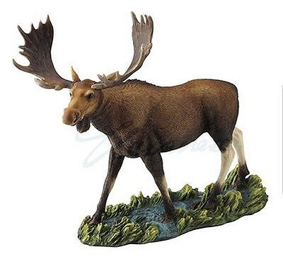 "Moose in Stream Statue New Wildlife Sculpture 13.25"" Long Wild Animals"
