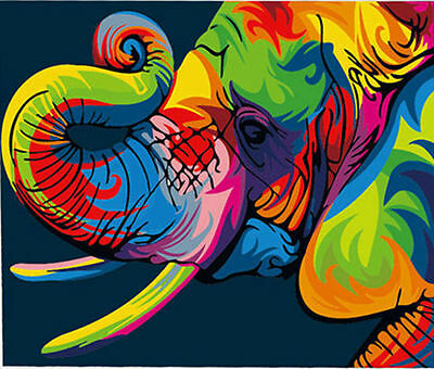 Colorful Elephant Head Hand Painted Design Needlepoint Canvas  H188