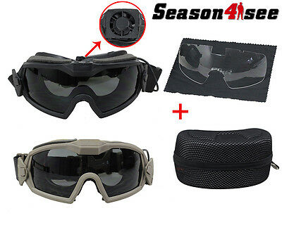 1PC Tactical Airsoft Eye Protective Regulator Goggles Glasses 2 Lens With Fan