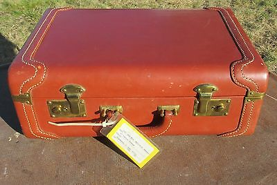 """Vintage Kam Lung Brown Leather Hong Kong 18"""" Suitcase / Luggage"""