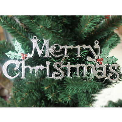 Hot Gold/Silver Merry Christmas Ornaments Party Tree Hanging Decoration