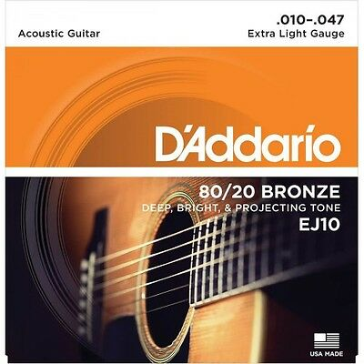 D'Addario EJ10 extra light 80/20 Bronze - Jeu de cordes guitare acoustique