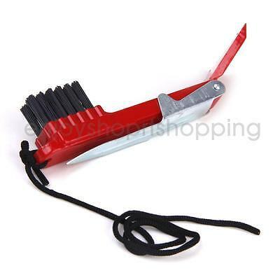 MultiPurpose Red Golf Club Cleaning Brush Shoe Grooves Cleaner