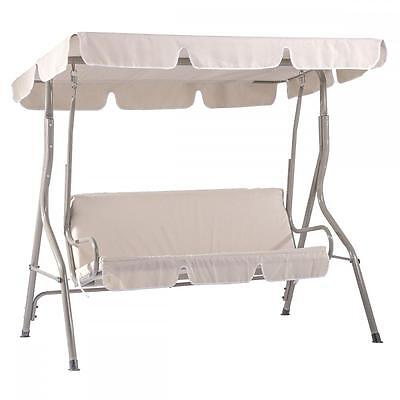 New Beige Canopy Swing Glider Hammock Chair Patio Backyard Porch Furniture SW68