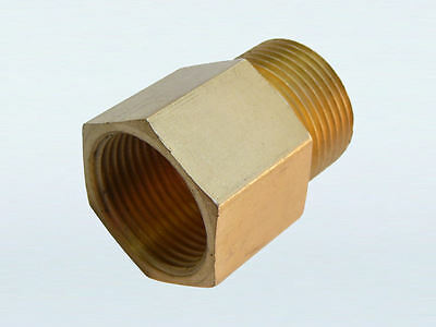 Brass M22 (22mm) Female Thread to M22 Male Thread with 14mm Bore (P).