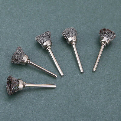 5Pcs Shape Stainless Steel Wire Cup Brushes Wheel  Rotary Accessory