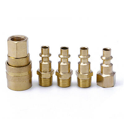 """5Pc 1/4"""" NPT Brass Quick Coupler Set Solid Air Hose Connector Fittings Tools New"""