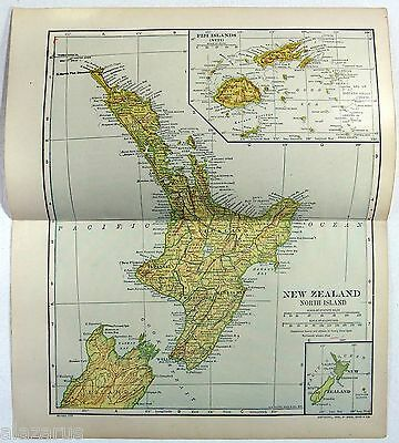 Original 1912 Map of New Zealand - North Island - by Dodd Mead & Company