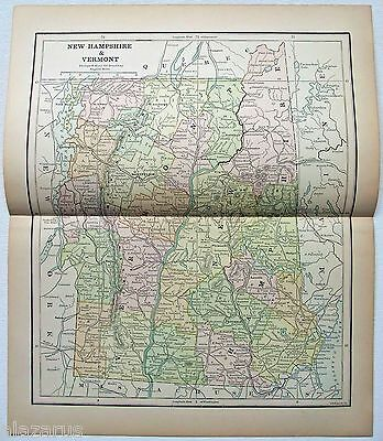 Original 1882 Map of Vermont & New Hampshire by Phillips & Hunt