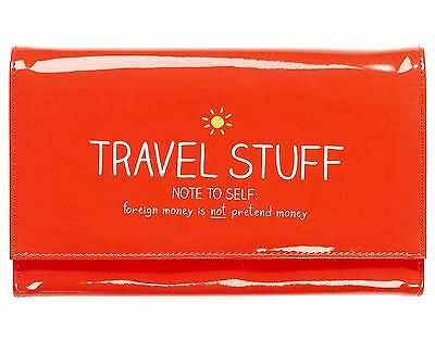 Happy Jackson 'Travel Stuff' Wallet ID Passport Documents Holder Red Bag