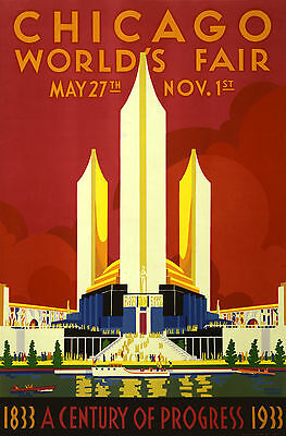 CHICAGO WORLD FAIR 1933 Retro Travel/Promotional Poster A1A2A3A4 Sizes