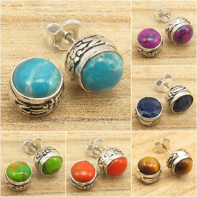 925 Silver Plated Authentic Gemstone Old Style STUDS Earrings Handwork
