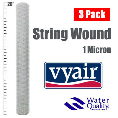 """20""""  Bio-Diesel Vegetable Oil Wound Particle Filters 1 Micron Pack Of 3"""