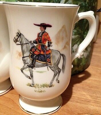 Crown Staffordshire China Cup Historic Red Uniformed Soldier Grey Horse Military