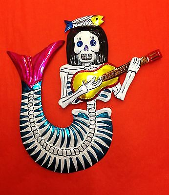 Authentic Mexican Tin Folk Art Day of the Dead Mermaid Handcut punched & painted