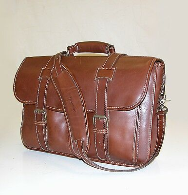 Korchmar 1005-078 Brown Leather Messenger Computer Brief Bag / Lawyers Briefcase