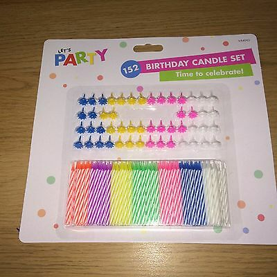 Birthday Candle Set - 152 Piece. Let's Party! 102 Candles + 50 Holders. Kids