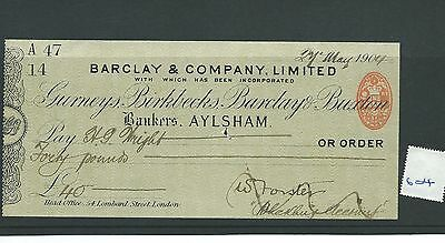 wbc. - CHEQUE - CH604- USED -1904 - BARCLAY & CO. AYLSHAM - overprint