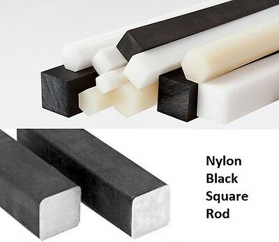 "5/16"" Black Nylon Square Rod Bar CNC Machine Plastic .312"" (25 Feet in total)"
