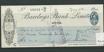 wbc. - CHEQUE - CH625- USED -1930 - BARCLAYS,  DISS