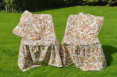 Vintage Shabby Chic Crowson Fabric Bedroom Chair Slip Covers Slipcover & Cushion