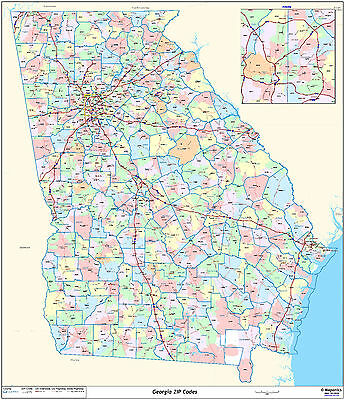Georgia State Zipcode Laminated Wall Map