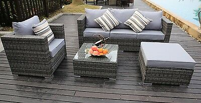 New Rattan Garden Furniture Set Sofa Table Chairs Grey Garden Patio Conservatory