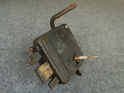 vintage 19th ct. Ottoman * WROUGHT DOOR LOCK * with key and screws - works