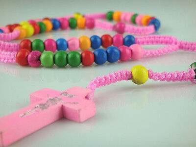 Pink Rope Rainbow Wooden Beads Religious Necklace Rosary With Pink Wooden Cross