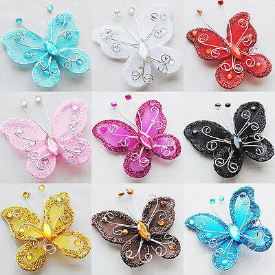 10pcs NEW artificial Stocking Butterfly Wedding Decorations Party Multicolors