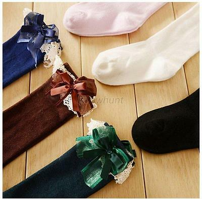 Toddler Kids Baby Girl Knee High Long Socks Lace Bow Cotton Casual Stockings