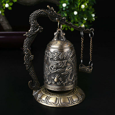 China Buddhism Brass Copper Carved Statue Lotus Buddha Dragon Bell Clock