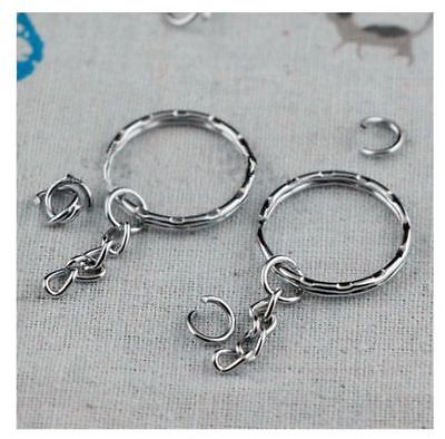 100pcs Keyring Blanks Silver Tone Key Chains Findings Split Rings 4 Link UK