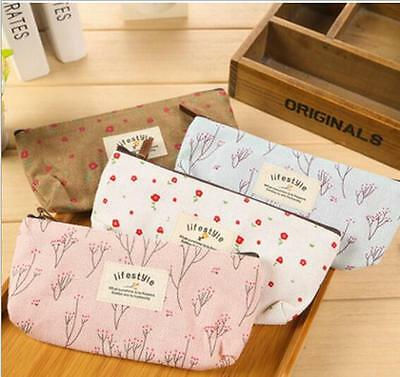 Trendy Flower Floral Pencil Case Cosmetic Makeup Tool Bag Storage Pouch Purse